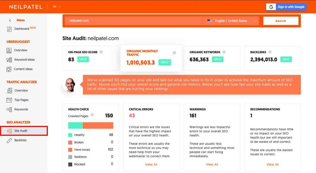 Site Audit using ubersuggest